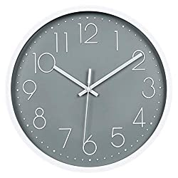 Modern Wall Clock , Silent Non-Ticking Decorative Battery Operated Wall Clocks for Living Room, Office, Bathroom, Kitchen, Thicken Plastics Frame Glass Cover (Gray)