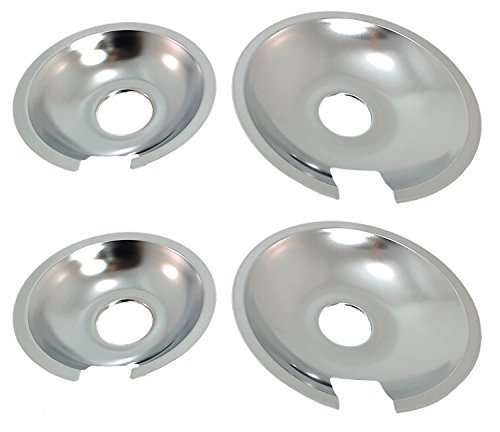KITCHEN BASICS 101 715877 and 715878 Replacement Range Cooktop Drip Pans for Jenn Air - Includes 2 6-Inch and 2 8-Inch Pans, 4 Pack