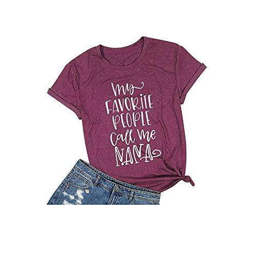 Jorlyen Womens T Shirt My Favorite People Call Me Nana Shirt Casual Cotton Short Sleeve Funny Graphic Tee Top Shirts PU S Purple