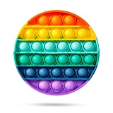 IREENUO Push Pop Bubble Fidget Sensory Toy, Autism Special Needs Anxiety Stress Reliever Silicone Sensory Toy Rainbow Round