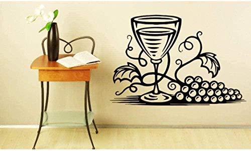 Etiqueta de la pared PVC extraíble etiqueta de la pared arte de la pared copa de vino uva cocina utensilios de cocina pared Bar cafetería tienda ventana cartel 42x67cm
