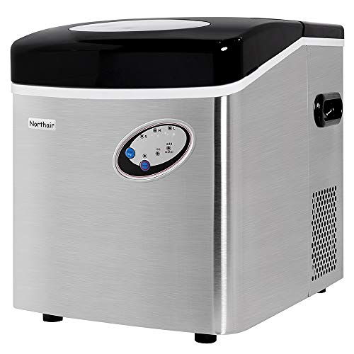 Northair 48lbs/24H Portable Automatic Ice Maker, Extra Large Capacity with Stainless Steel Desing, Clear Control Panel, High Efficiency Make 3 Size Bullet Shaped Ice