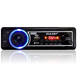 Dulcet DC-A-09 Double IC High Power Universal Fit Mp3 Car Stereo with Bluetooth/USB/FM/AUX/MMC/Remote and Built-in Equalizer with Bass & Treble Control[Also, Includes a Free 3.5mm Aux Cable],Dulcet,DC-A-09