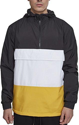 Urban Classics Herren Windbreaker Color Block Pull-Over Jacket, leichte Streetwear Schlupfjacke, Überziehjacke für Frühjahr und Herbst - Farbe black/chrome yellow/white, Größe XL