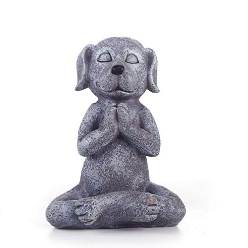 Meditating Dog Statue Buddha - Zen Dog - Namaste– Top Collection Tranquility and Peacefulness for Your Fairy Garden. 4¾ Inches Tall Miniature Gnome Figurine