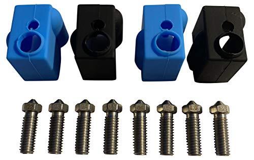 3DPlady Juego de boquillas de acero Volcano + calcetines de silicona para Artillery Sidewinder X1 y Genius