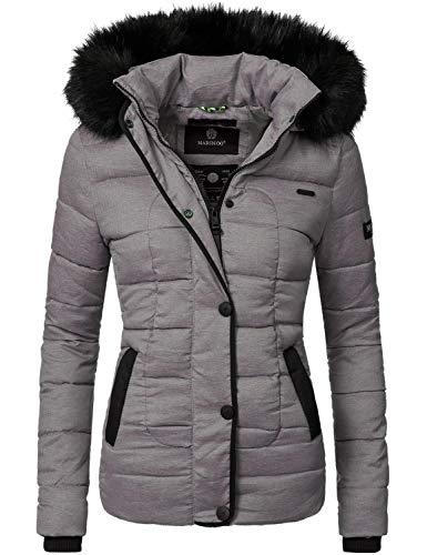 Marikoo Damen Winter Jacke Steppjacke Unique Grau Gr. L