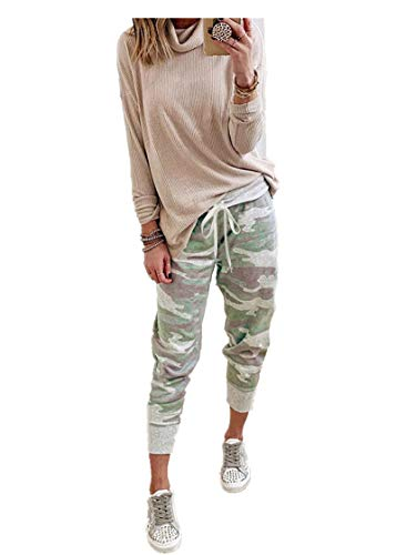 Fliegend Damen Camouflage Jogginghose High Waist Sporthose mit Taschen Kordelzug Frauen Freizeithose Weiche Sweathose Trainingshose Fitnesshose S