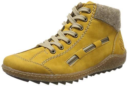 Rieker Damen L7543 Hohe Sneaker, Gelb (Honig/Wood 69), 41 EU