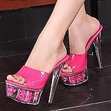 scarpe donna sandali con plateau sandali estivi rosa scivoli scarpa da sposadiscoteca sexy 15 cm scarpe col tacco alto taglie forti 34-44