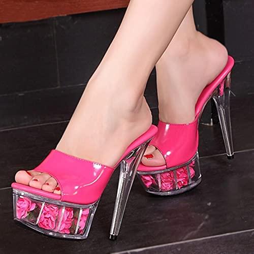 Zapatos Mujer Sandalias de Plataforma Sandalias de Rosas de Verano Diapositivas Zapato de BodaDiscoteca Sexy 15cm Zapatos de tacón Alto Tallas Grandes 34-44