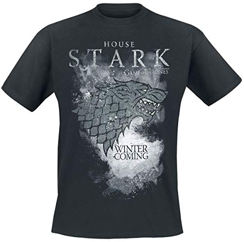 Game Of Thrones Juego de Tronos House Stark - Winter Is Coming Hombre Camiseta Negro XL, 100% algodón, Regular