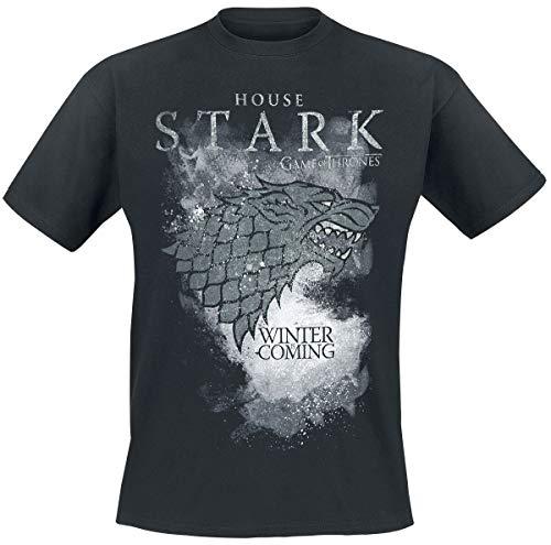 Game Of Thrones Juego de Tronos House Stark - Winter Is Coming Hombre Camiseta Negro, Regular