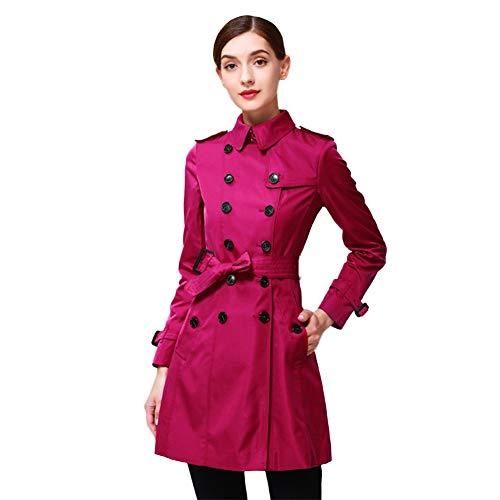 Biddtle Damen Trenchcoat Girls Mantel Mit Gürtel Zweireiher Revers Lange Ärmel Schulterklappen Mode Mantel,Wine red,L