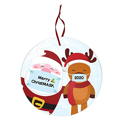 1pcsChristmas Ornament Hanging on Christmas Trees 2020 Santa Claus Masked Souvenir Tree Hanging Ornament Hanging on Christmas Trees