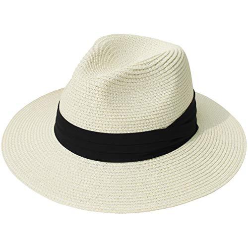 Lanzom Women Wide Brim Straw Panama Roll up Hat Fedora Beach Sun Hat UPF50+ (Beige)