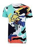 SCREENSHOT-S11076 Mens Urban Premium Hipster Streetwear Tee - Modern Melting Ice Cone Cartoon Camo Pattern Print T-Shirt-White-Small