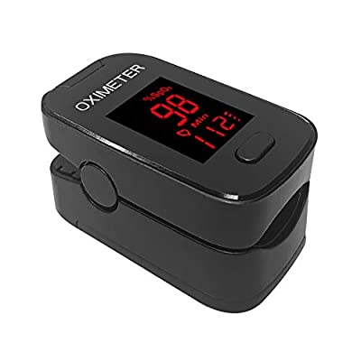 AXAYINC Fingertip Pulse Saturation Monitor Heart Rate Monitor with Alarm Setting LED Display. (Black)
