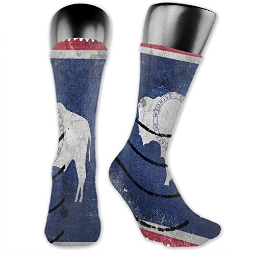 Moruolin Compression High Socks,Old Postage Stamp Look Design With Equality State With Bison Print,Women and Men For Running,Athletic,Hiking,Travel,Flight