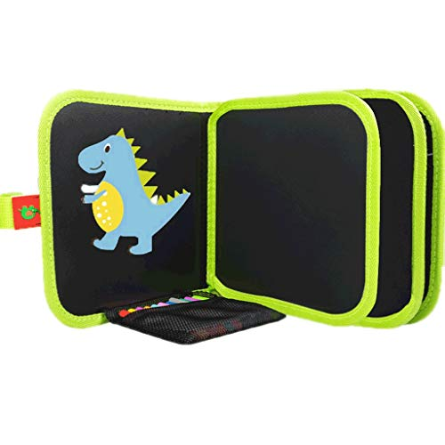 HMEI Tablero de Dibujo Creativo Tablero de Dibujo magnético para niños, Tablero de Dibujo borrable portátil, para Graffiti, Escritura, Dibujo (Color : Green Dinosaur Style 10 Pages)