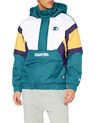 STARTER BLACK LABEL Color Block Half Zip Retro Jacket Giacca a Vento, Verde retrò/Bianco/Blu/S Prpl, XL Uomo