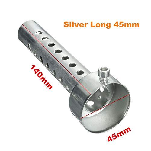 35mm / 42mm / 45mm / 48mm / 60mm Motorrad DB Killer Schalldämpfer Lärm Eliminator Auspuff Adjustable Schalldämpfer Schalldämpfer Removable Auspuff (Color : Silver Long 45mm)
