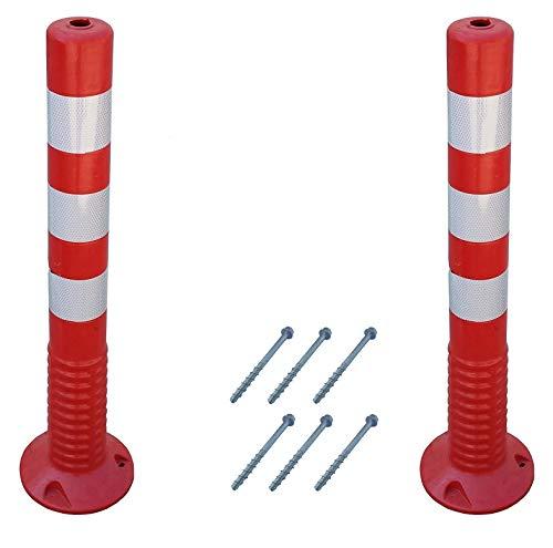 SNS SAFETY LTD Verstärkte Kunststoffpfosten 75 cm, mit Reflektierenden, für die Verkehrssicherheit, aus Flexiblen Polyurethan, Rot (2 Stück)
