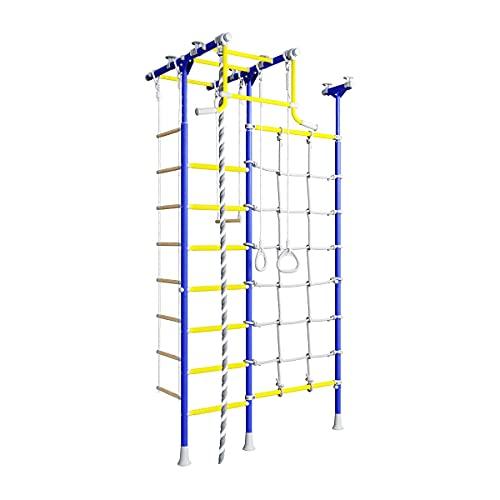 Metall Sprossenwand für Kinder Merkury 2, schwedische Leiter + Klimmzugstange + Kletternetz blau
