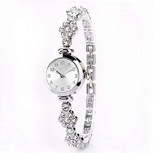 DEAR-JY Relojes Mujer,Serie de Perlas Reloj de Moda Temperamento señoras Reloj de Cuarzo Tendencia con Reloj de Pulsera de Diamantes,Muy Bonito Regalo de cumpleaños,Silver