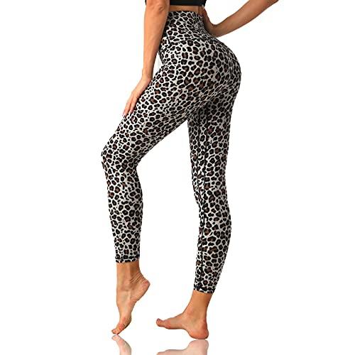 Desol - Leggings da allenamento a vita alta da donna, 63,5 cm/71,1 cm, lunghezza intera, per yoga, con fascia ventrale e supporto per il sedere, Leopardo 63,5 cm, XX-Large
