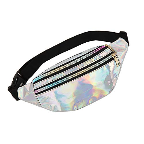 WD&CD Cangurera Deportiva Cinturón Bolso Unisex Moda PU Holográfica Cintura Bolsa Brillante Paquete de Cintura Bolsa de Cintura para CoWalkers, Riñonera Running Impermeable- Plata