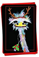 NobleWorks Merry Ostriches - 12箱入り メリークリスマス グリーティングカード 封筒付き (4.63 x 6.75インチ) - 角を身につけた鳥を注意深く見せる C2914GXSG-B12x1