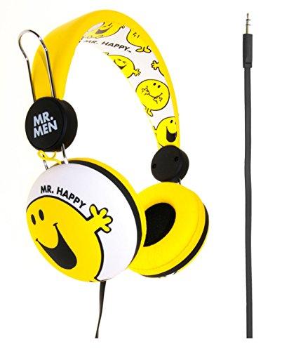 Mr Men, Little Miss and Friends MM0164 - Auriculares de diadema cerrados junior, diseño Mr. Happy amarillo