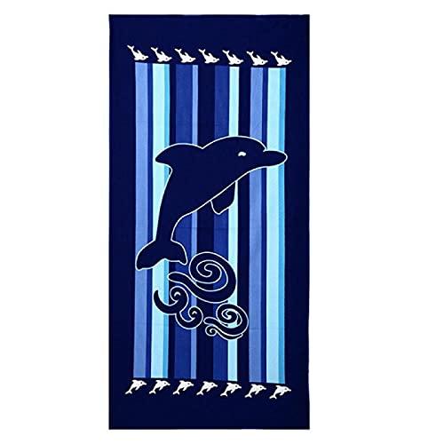 Toalla de Playa de Microfibra Delfín Azul Negro de Rayas Verticales Toalla de Piscina Grande Esterilla de Yoga, Seque Rápidamente, Absorbente,Prevención de Arena para Viaje 70 x 140 cm