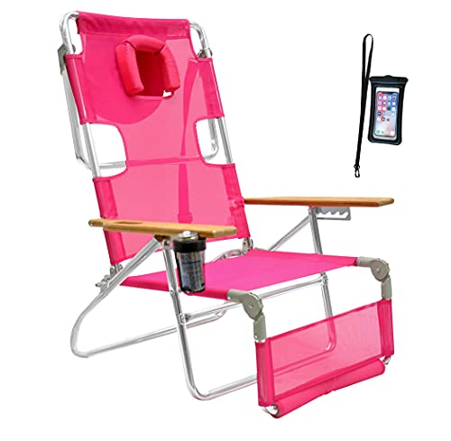 Ostrich 5 Position 3N1 LayFlay Aluminum Beach Chair Lounger Chaise with Cell Pouch