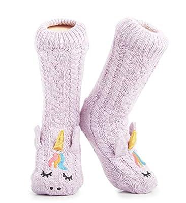 Calcetines para zapatillas mullidas Mujeres Calcetines para el hogar suaves premium Tamaño 4-8 - Novedad Perro pastor de ovejas Gato Mullido y peludo Calcetines para zapatillas (Unicornio morado)