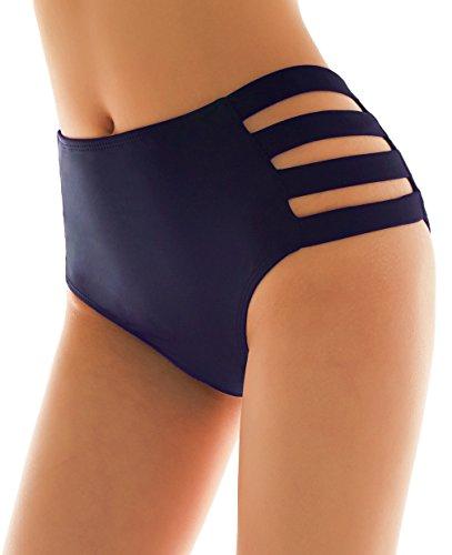 SHEKINI Damen Schwarze Badeshorts hohe Taille Bikinihose High Waist Bikini Höschen Plus Size S-XXXXL (Large, Strapped Sides- Dunkelblau)