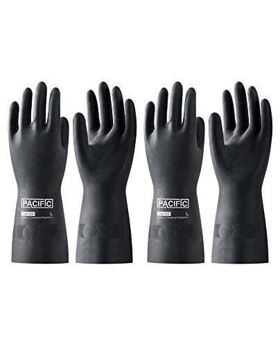 """PACIFIC PPE 2 Pairs Latex Chemical Resistant Gloves, Heavy Duty Industrial Rubber Gloves, 28 mil, 12.6"""", Large"""