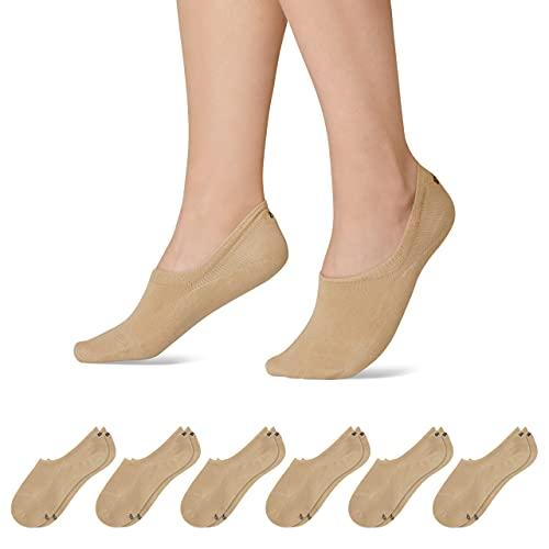 Snocks Sneaker Socken Damen Beige Größe 39-42 6x Paar Sneaker Socken Herren Damen Sneaker Socken Füßlinge Damen Sneakersocken Ballerina Socken Damen