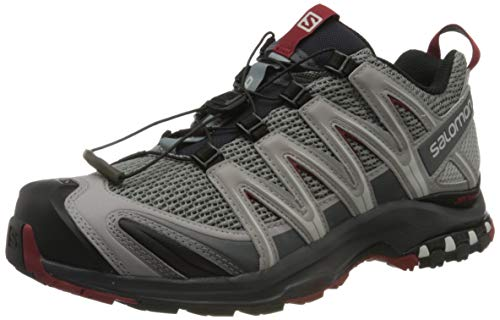 Salomon XA Pro 3D, Zapatillas de trail running para Hombre, Gris (Monument/Ebony/Red Dahlia), 45 1/3 EU
