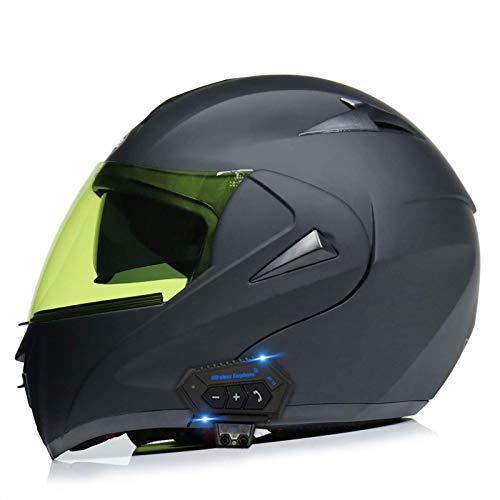 ququer Casco Integral Bluetooth Motocicleta Casco Integrado Bluetooth para Motocicleta, Casco anticolisión con Doble Lente Auriculares Bluetooth Casco Protector con Visera Transparente-H||L