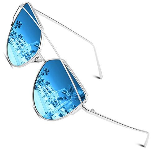 CGID Mode Polarisierte Katzenaugen Sonnenbrille For Damen UV400 reflektierenden Spiegel,Silber Blau