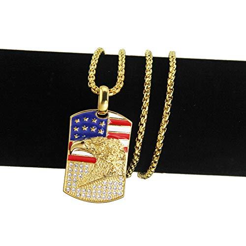 CHENLING Hip Hop Punk Amerikanische Flagge Adler Armee Halskette übertriebene Halskette