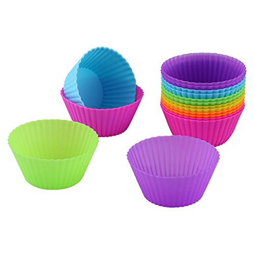 Belmalia 12x Pirottini Muffin Silicone Antiaderente Cupcakes, Brownies, Torta Pudding, Muffin, Stampo Muffin, Multicolore