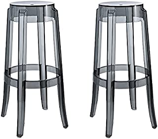 Set of 2 Charles Style Modern Ghost Bar Stool in Smoke Finish