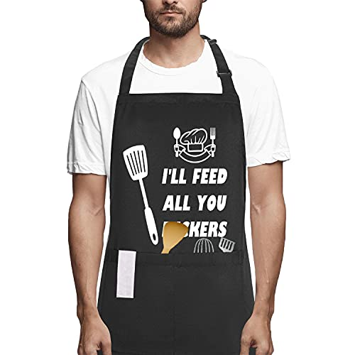 POTALKFREE Funny Apron for Women and Men with 2 Pockets, I¡¯LL Feed All You, Adjustable Chef Apron for Grilling, Cooking, BBQ, Gifts for Birthday, Christmas, Thanksgiving, Husband, Dad, Mom, Wife