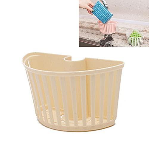 KIMIST Cesta para fregadero de cocina, estante de esponja de plástico, cesta de drenaje, tubo de desagüe de tubo estante de drenaje para el hogar y alimentos para el baño Suministros Rack