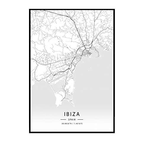 GUICAI Ibiza España Mapa de la Ciudad Moderna Mapa de la Ciudad Pintura en Lienzo Póster Impresiones Lienzo Imagen de Pared para la decoración de la habitación del hogar -50X70 cm Sin Marco 1 Uds