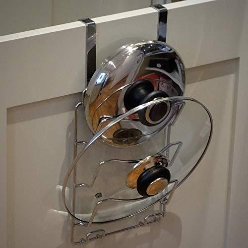 Maison & White Über Tür Topf - und Topfdeckelhalter | Wand oder Tür montiert Küchenschrank Topf Lagerregal | Verchromter Schranktür - Organizer