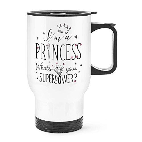 Grappig Ik ben een prinses Wat is uw Superpower Meisjes Flask Reizen Mok Thermische Geïsoleerde RVS Koffiemok Cadeau Idee, 14 Oz